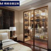 玛格玻璃门衣柜整体定制铝框奢华卧室简约收纳衣橱步入式衣帽间