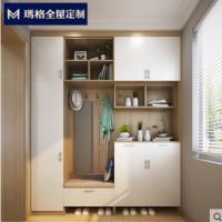 玛格定制鞋柜现代简约门厅柜大容量多功能家用玄关衣帽柜家具组合