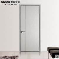 新标定制白色简约免漆实木生态门平开室内复合套装卧室隔音原木门