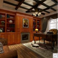 博郡定制家具 实木现代欧式书房柜书架转角办公置物柜订做书房