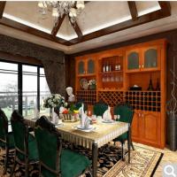 博郡家具定制 客餐厅美式实木现代隔断成套大小酒水酒柜高吧台定做