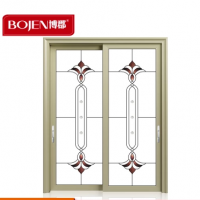 博郡木纹铝门钛合金门框定制阳台推拉窗室内门卧室玻璃套装门批发
